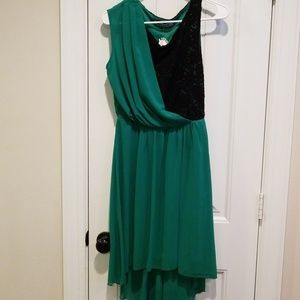 Mystic high low green and black dress